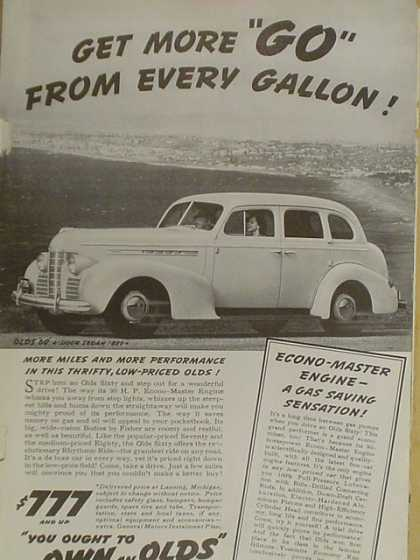 Olds Oldsmobile Get more go from every gallon (1939)
