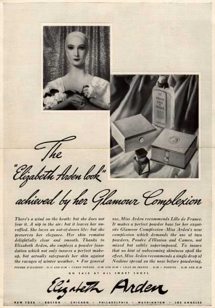 "Elizabeth Arden – The ""Elizabeth Arden look"" achieved by her Glamour Complexion (1938)"