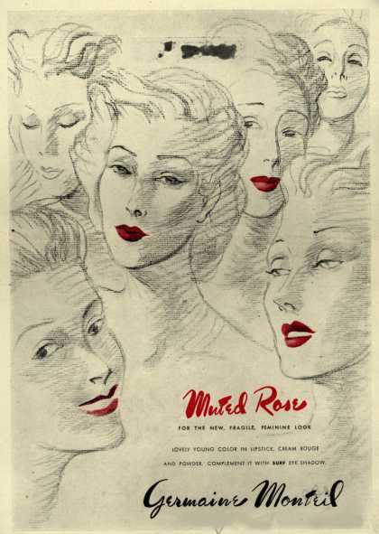 Germaine Monteil's lipstick, rouge, and powder – Minted Rose (1944)