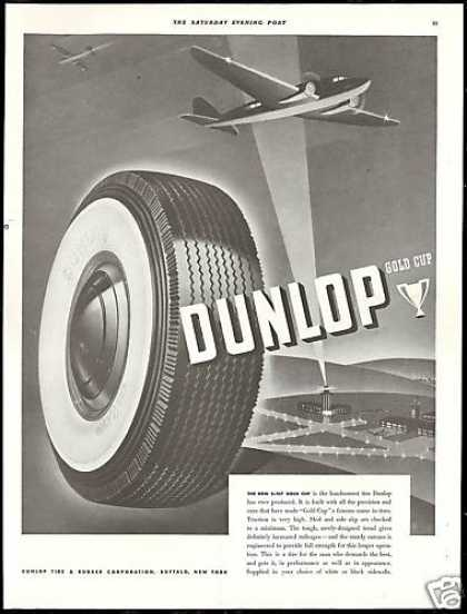 Dunlop Gold Cup Tire Airplane Vintage (1939)