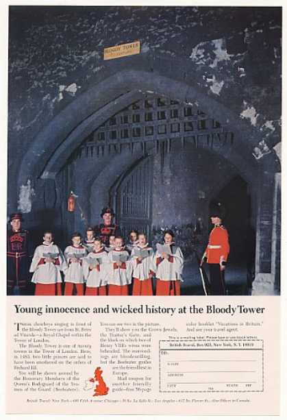 Choirboys Bloody Tower British Travel Photo (1966)