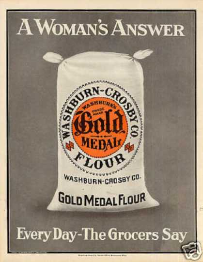 "Gold Medal Flour Color Ad ""A Woman's Answer... (1910)"