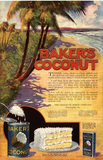 Bakers Coconuts Cakes Baking Cocoanuts, USA (1910)