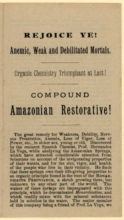 Specific Medicine Company's Amazonian Restorative Chemical Compound – Rejoice Ye! Anemic, Weak and Debilitated Mortals.