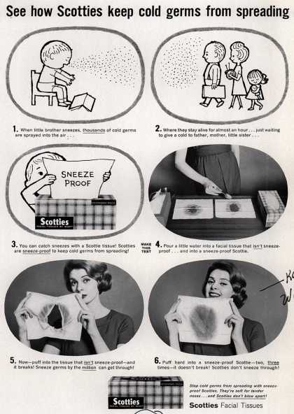 Scott Paper Company's Scotties – See how Scotties keep cold germs from spreading (1959)