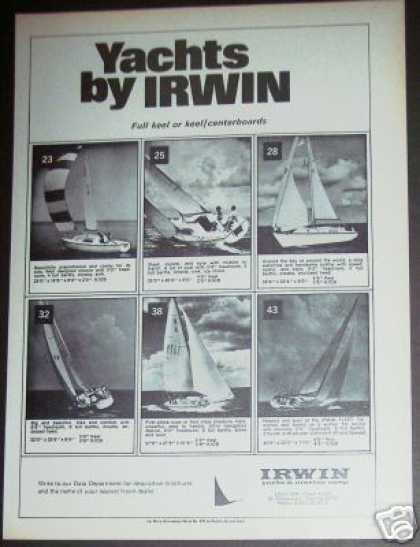 Irwin Yacht Sailboat 6 Models Boat (1971)