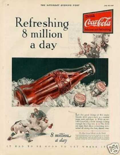 Coca-cola Color Ad &quot;Refreshing 8 Million... (1928)
