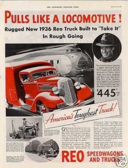 "Reo Truck Color Ad ""Pull Like a Locomotive... (1936)"