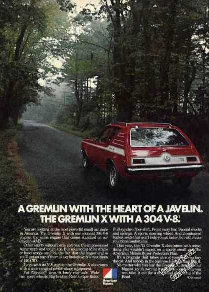 Amc Gremlin With 304 V-8 Car Ad Nice Photo (1972)
