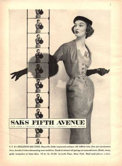Saks Fifth Ave. Silk Taffeta Fashion (1951)