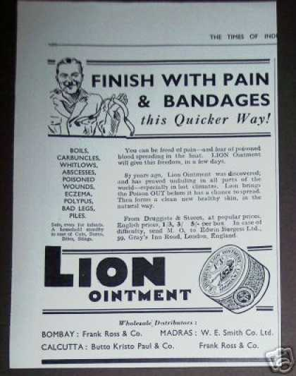 Lion Ointment Cure Medicine India (1936)