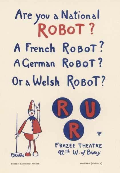 Poster for a New York Production of Capeks Play Rossums Universal Robots