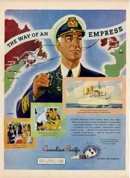 '47 Canadian Pacific Cruise Line Ship Boat Captain Ad T (1947)