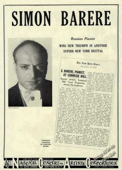 Simon Barere Photo Russian Pianist Booking (1945)