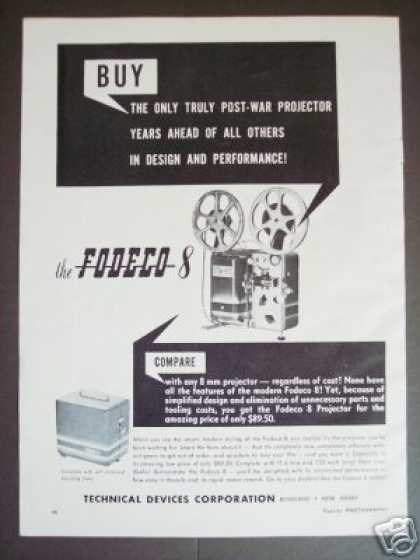 Fodeco 8mm Movie Film Projector Original (1948)
