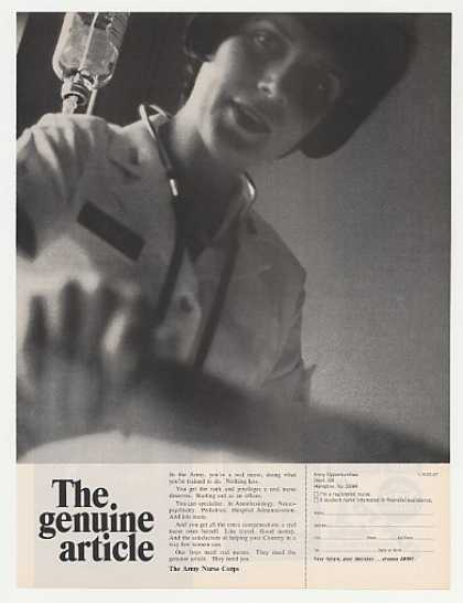 Army Nurse Corps Genuine Article Nurse Photo (1967)