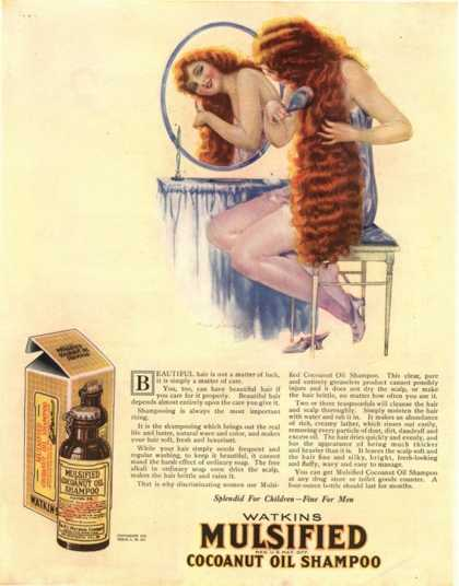 Brushing Mulsified Shampoo Cocoa Nuts Oil Hair, USA (1921)