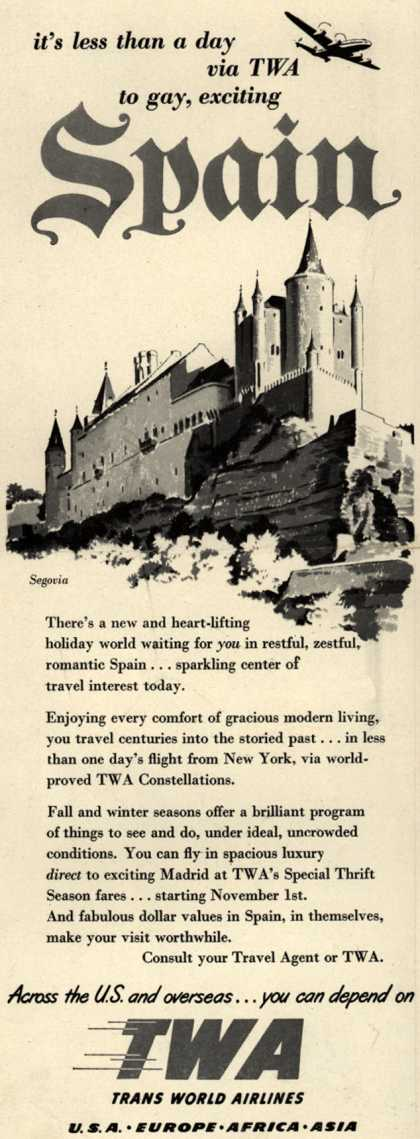 Trans World Airline's Spain – it's less than a day via TWA to gay, exciting Spain (1952)