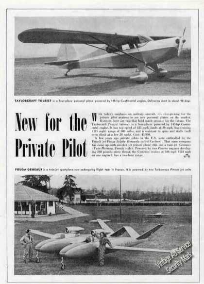 Taylorcraft Tourist & Fouga Gemeaux Print Feature (1951)