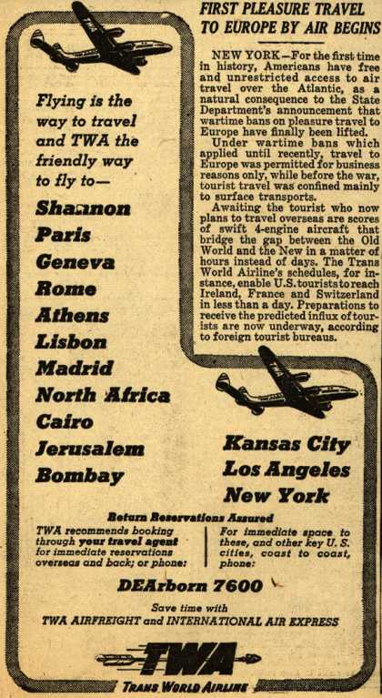 Trans World Airline – Flying is the way to travel and TWA the friendly way to fly to- Shannon, Paris, Geneva, Rome, Athens, Lisbon, Madrid, North Africa, Cairo, Jerusalem (1947)