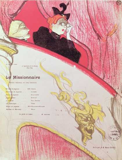 "Cover of a Programme for ""Le Missionaire"" at the Theatre Libre, 1893-94"