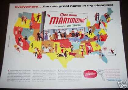 Original Usa Map Art Martinizing Dry Cleaning (1958)