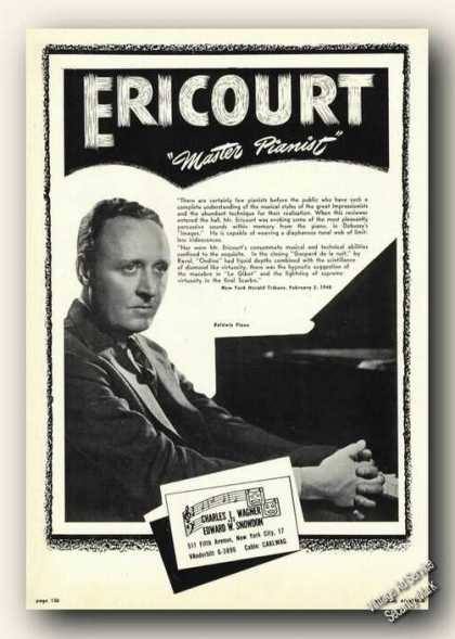 Daniel Ericourt Photo Piano Rare Ad Music (1948)