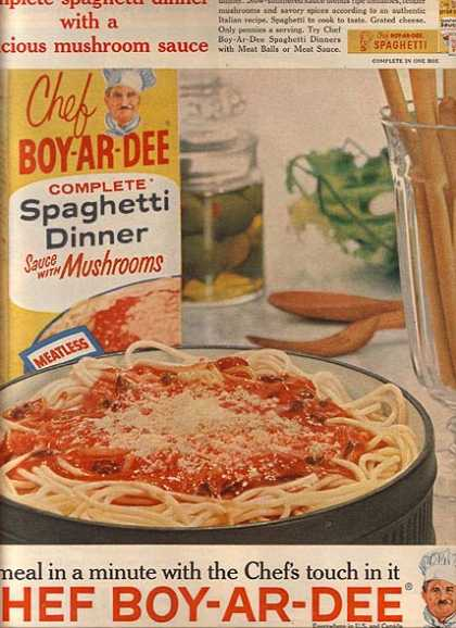 Chef Boy-Ar-Dee's Complete Spaghetti Dinner Sauce with Mushrooms (1961)
