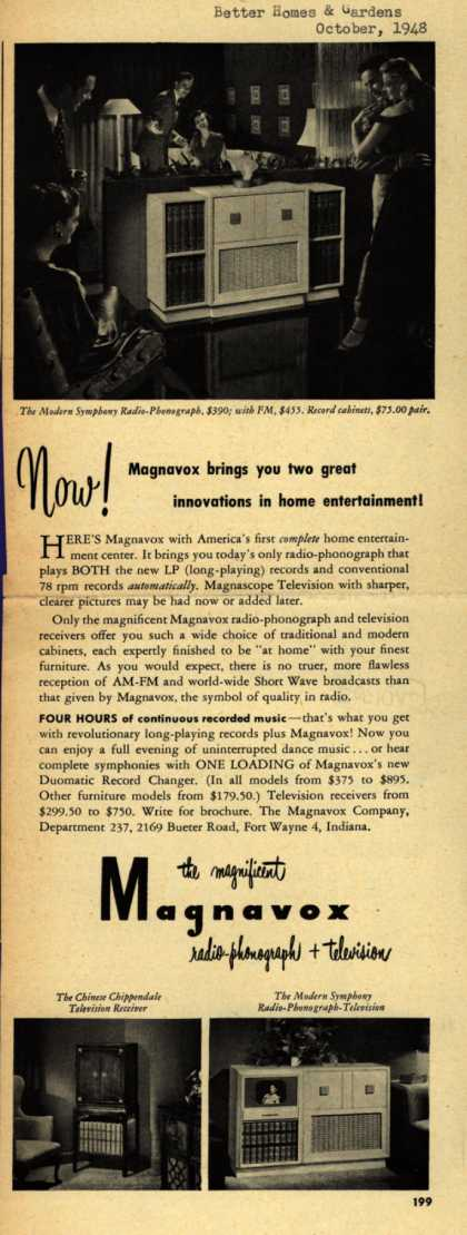 Magnavox Company's various – Now! Magnavox brings you two great innovations in home entertainment (1948)