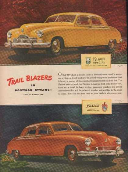 Yellow Kaiser & Red Frazer Car (1946)