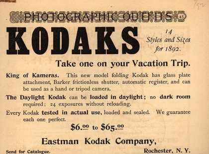 Kodak – KODAKS 14 Styles and Sizes for 1892 (1892)