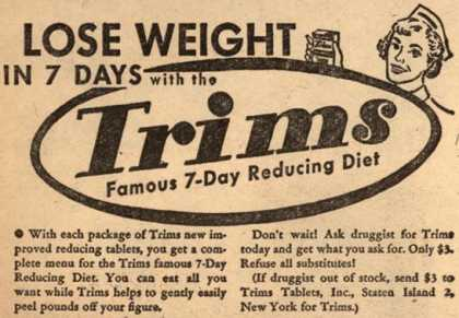 Trims Tablets, Incorporated's Trims – Lose Weight In 7 Days with the Trims Famous 7-Day Reducing Diet (1954)
