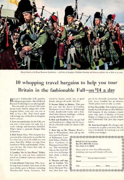 British Travel Royal Braemar Highland Bagpipes (1964)