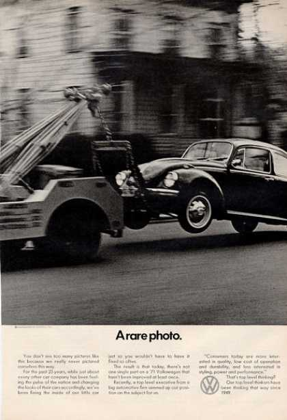 Vw Volkswagen Towed a Rare Photo Print (1971)