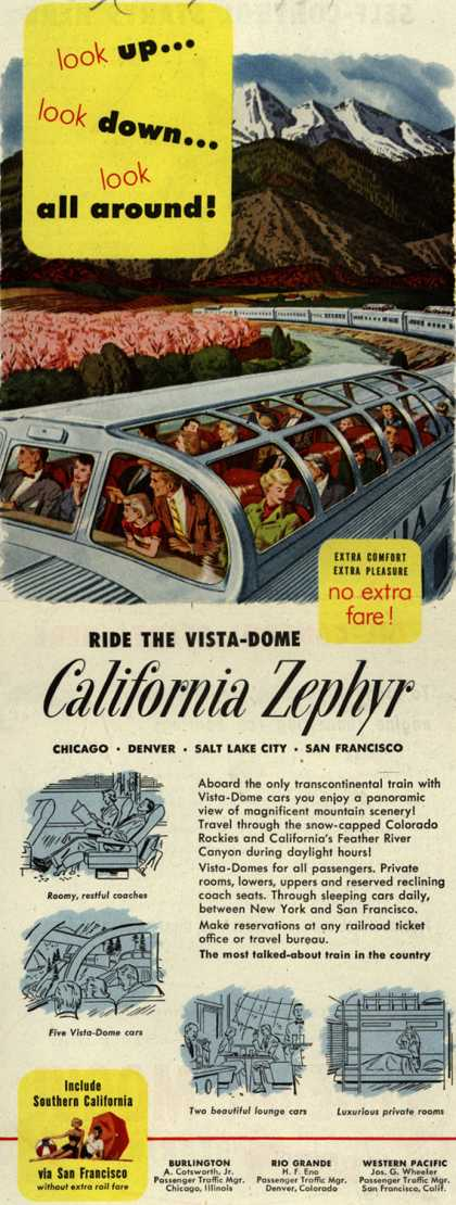 Burlington Route's California Zephyr – Look Up...Look Down...Look All Around! Ride The Vista-Dome California Zephyr (1951)