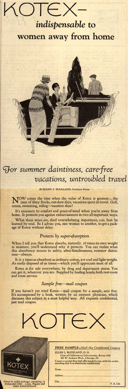 Cellucotton Products Company's Sanitary Napkins – Kotex- indispensable to women away from home (1924)