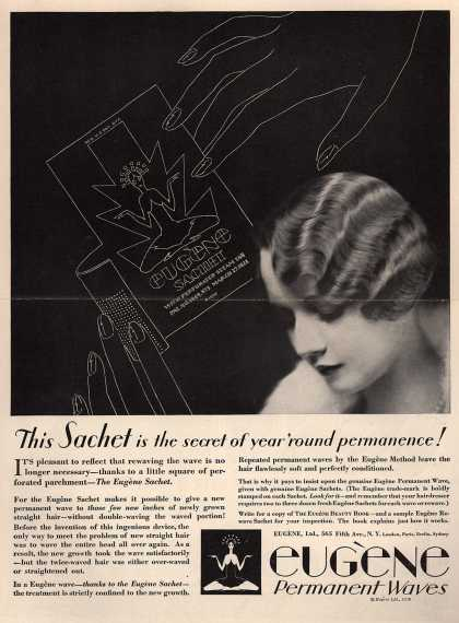 Eugene, Ltd.'s Eugene Sachet – This Sachet is the secret of year 'round permanence (1929)