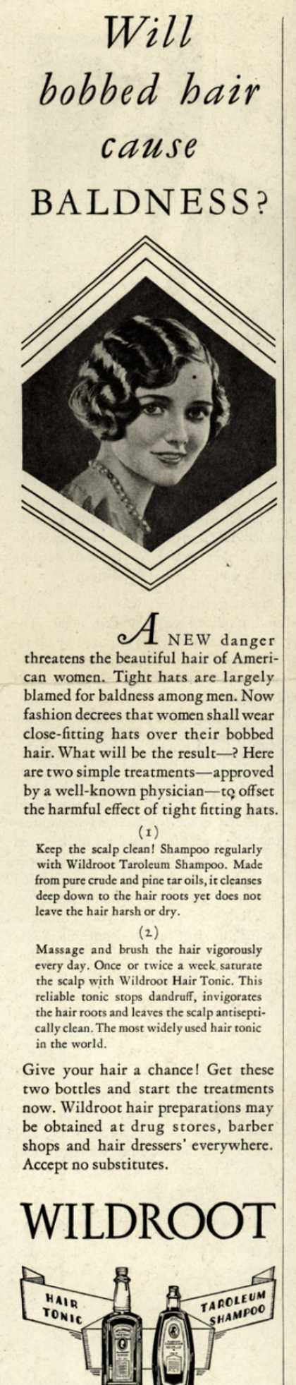 Wildroot Company's Wildroot Hair Preparations – Will bobbed hair caused Baldness? (1928)