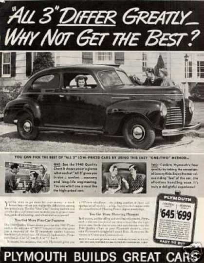 "Plymouth Car Ad ""All 3 Differ Greatly... (1940)"