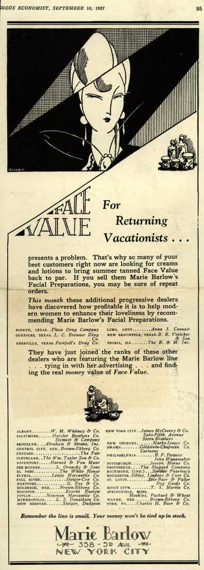Marie Barlow – Face Value For Returning Vacationists... (1927)