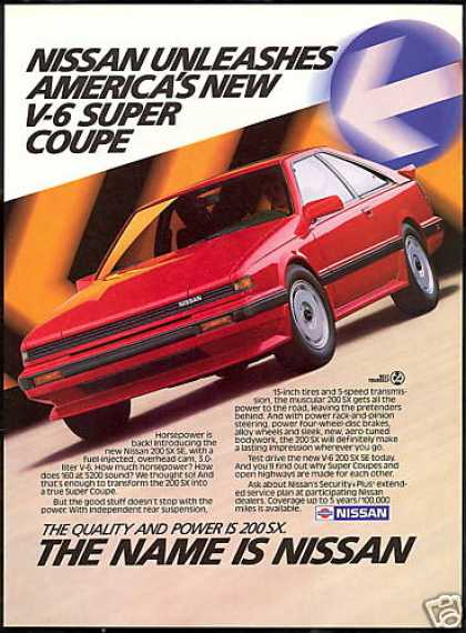 Nissan Red 200 SX 200SX V-6 Car Vintage (1987)