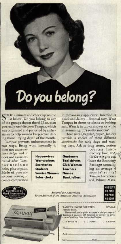 Tampax's Tampons – Do you belong? (1944)