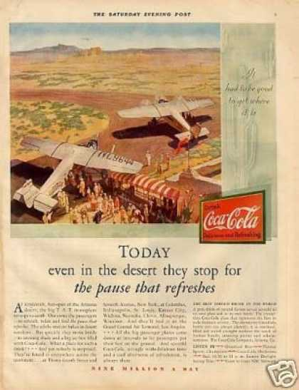 "Coca-cola Color Ad ""Today Even In the Desert... (1930)"
