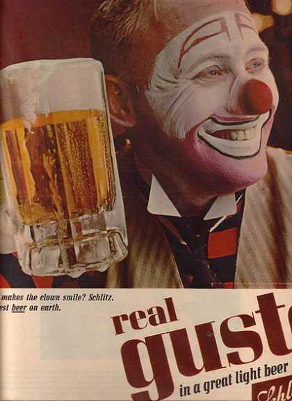 """What makes the clown smile? Schlitz. Greatest Beer on earth"" (1965)"