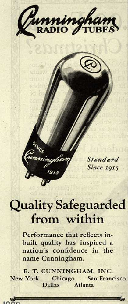E.T. Cunningham's Radio Tubes – Quality Safeguarded from within (1929)