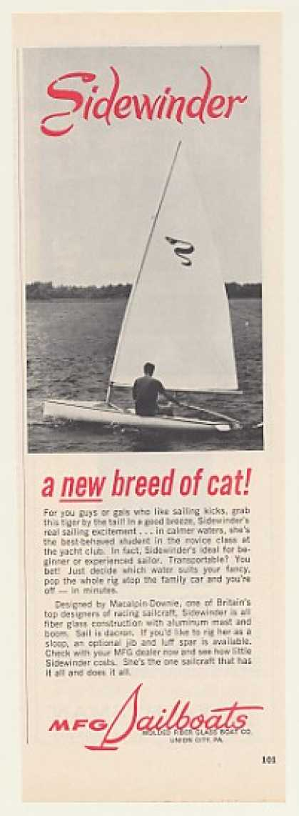 MFG Sidewinder Sailboat Boat Photo (1969)