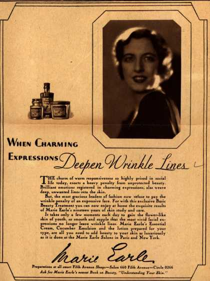 Marie Earle's Cosmetics – When Charming Expressions Deepen Wrinkle Lines (1929)