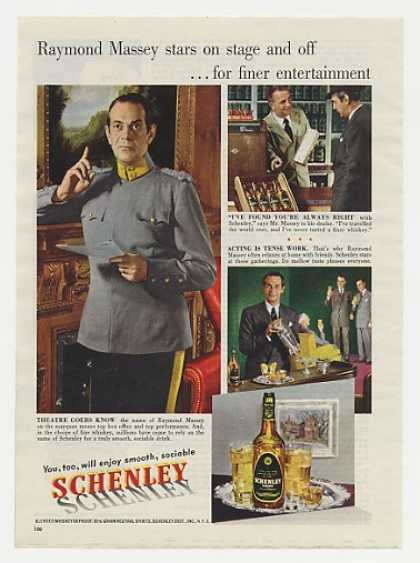 Raymond Massey Schenley Whiskey Photo (1950)