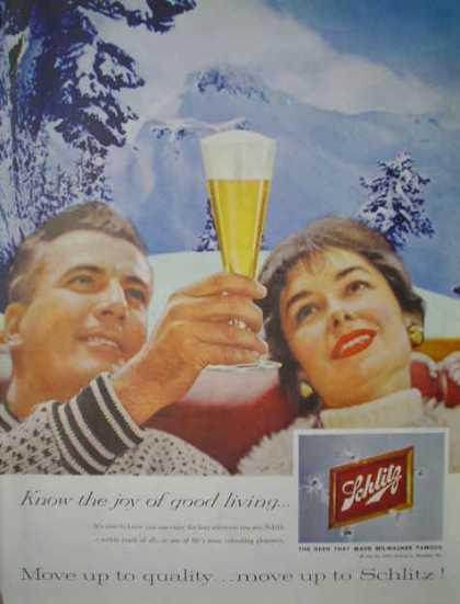 Schlitz Beer Move up to quality Ski mountain theme (1959)