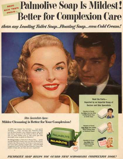 Palmolive Company's Palmolive Soap – Palmolive Soap Is Mildest! Better for Complexion Care than any Leading Toilet Soap...Floating Soap...even Cold Cream (1954)